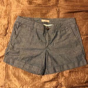 Banana Republic Cuffed Chambray Denim Shorts, 6